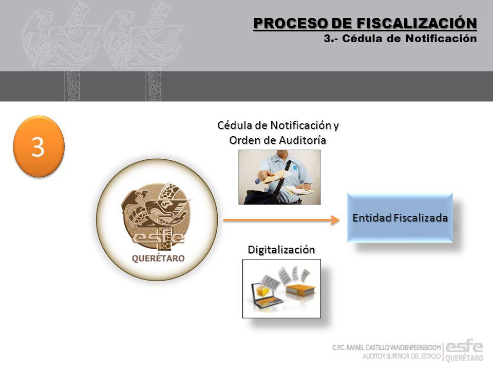 DIGITALIZACIÓN PROCESO DE FISCALIZACIÓN 3.- Cédula de Notificación Digitalización 3 3 Entidad Fiscalizada Cédula de Notificación y Orden de Auditoría
