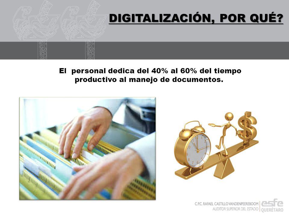 DIGITALIZACIÓN DIGITALIZACIÓN, POR QUÉ? El personal dedica del 40% al 60% del tiempo productivo al manejo de documentos.