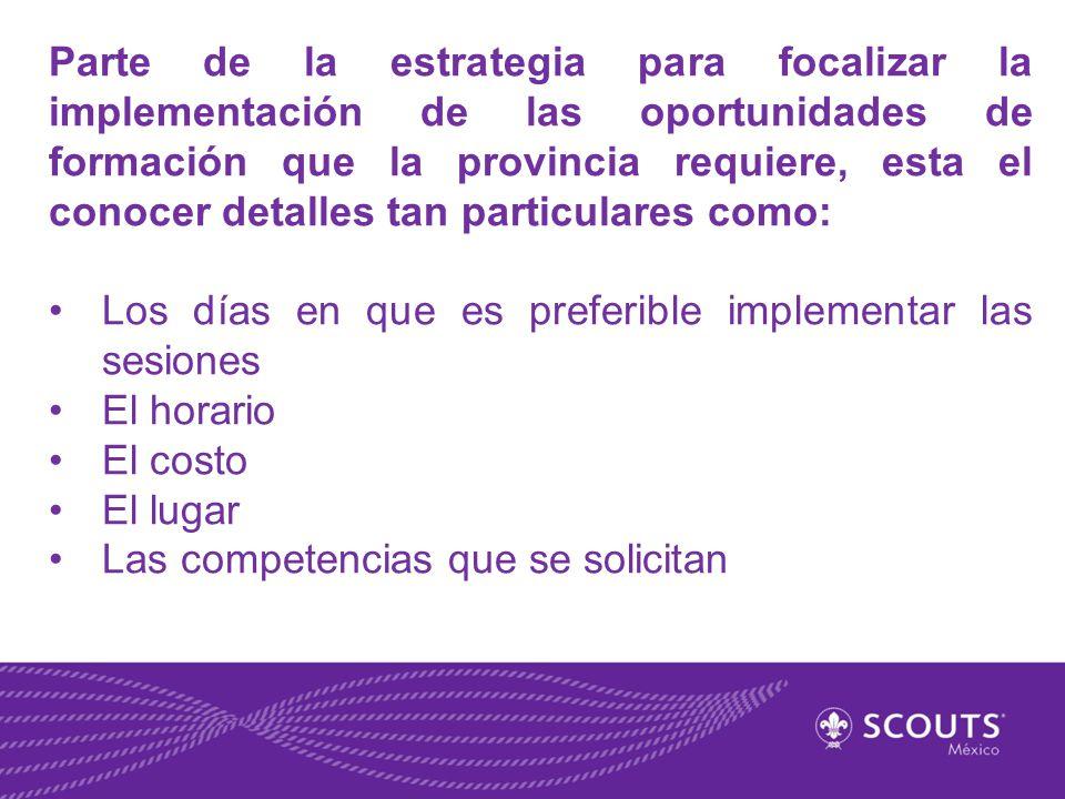 Parte de la estrategia para focalizar la implementación de las oportunidades de formación que la provincia requiere, esta el conocer detalles tan part