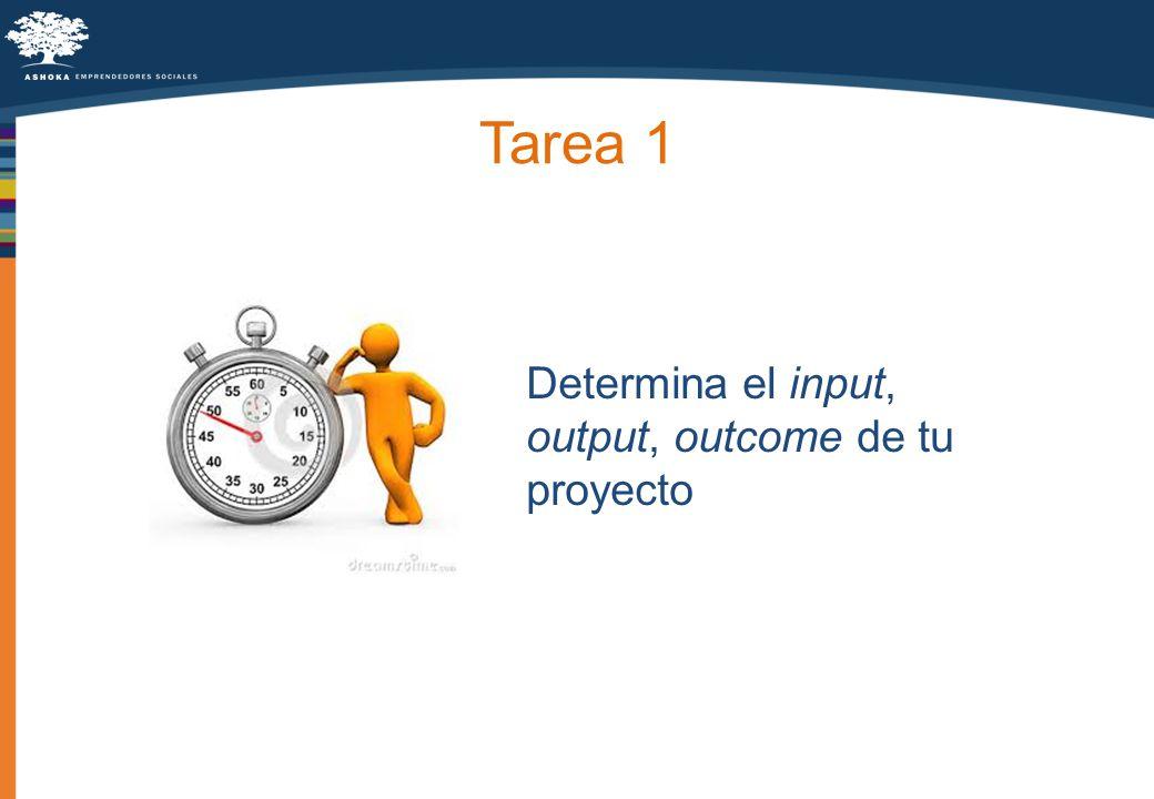Tarea 1 Determina el input, output, outcome de tu proyecto