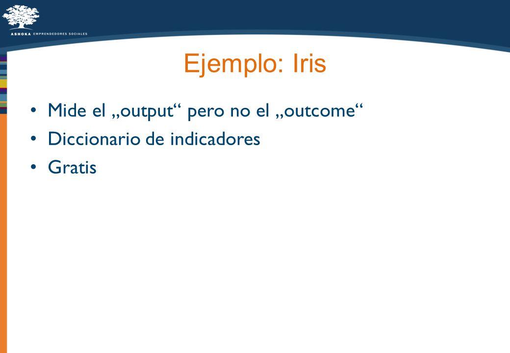 Ejemplo: Iris Mide el output pero no el outcome Diccionario de indicadores Gratis