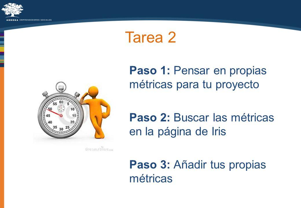 Tarea 2 Paso 1: Pensar en propias métricas para tu proyecto Paso 2: Buscar las métricas en la página de Iris Paso 3: Añadir tus propias métricas