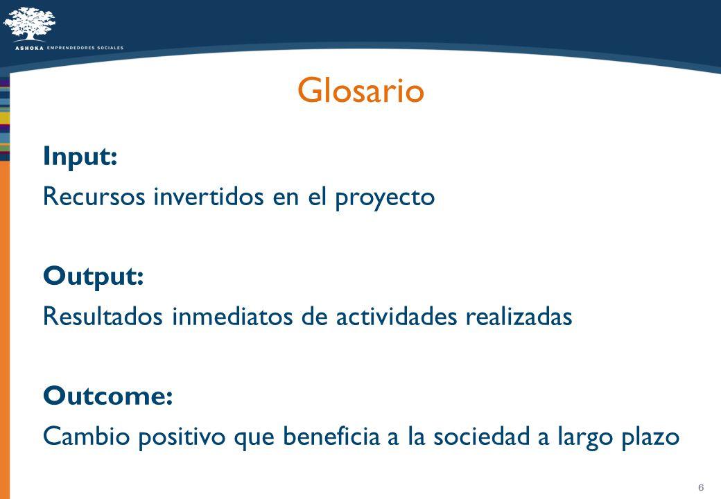 6 Glosario Input: Recursos invertidos en el proyecto Output: Resultados inmediatos de actividades realizadas Outcome: Cambio positivo que beneficia a