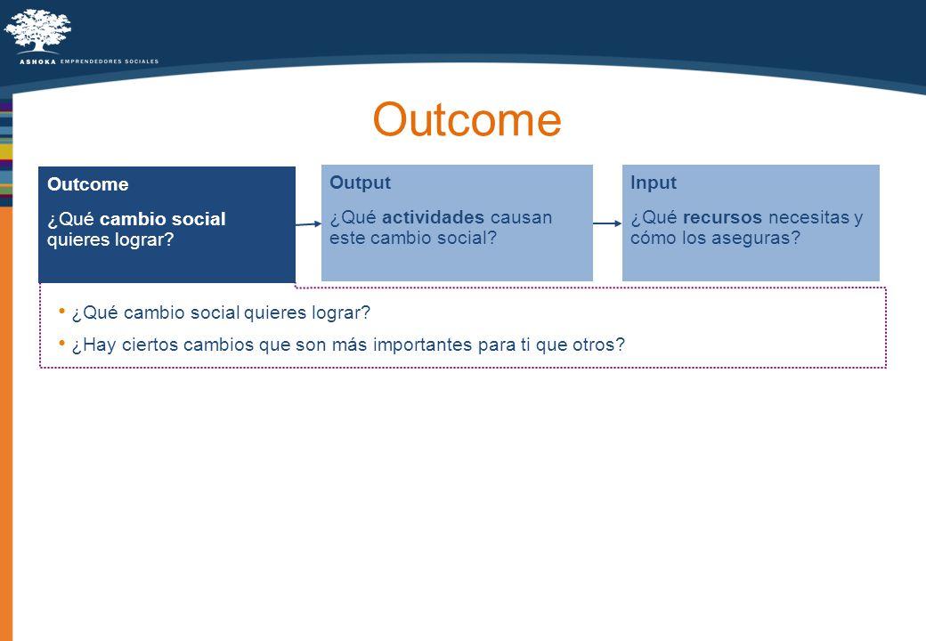 Outcome ¿Qué cambio social quieres lograr? Output ¿Qué actividades causan este cambio social? Input ¿Qué recursos necesitas y cómo los aseguras? ¿Qué