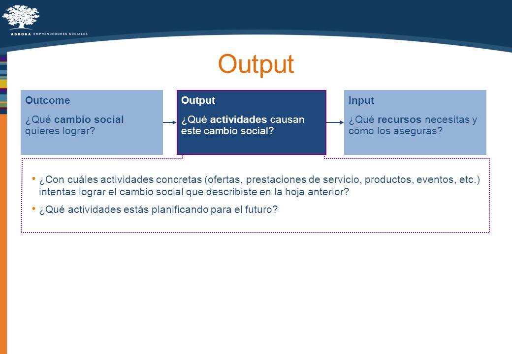 Output ¿Qué actividades causan este cambio social? Outcome ¿Qué cambio social quieres lograr? Input ¿Qué recursos necesitas y cómo los aseguras? ¿Con