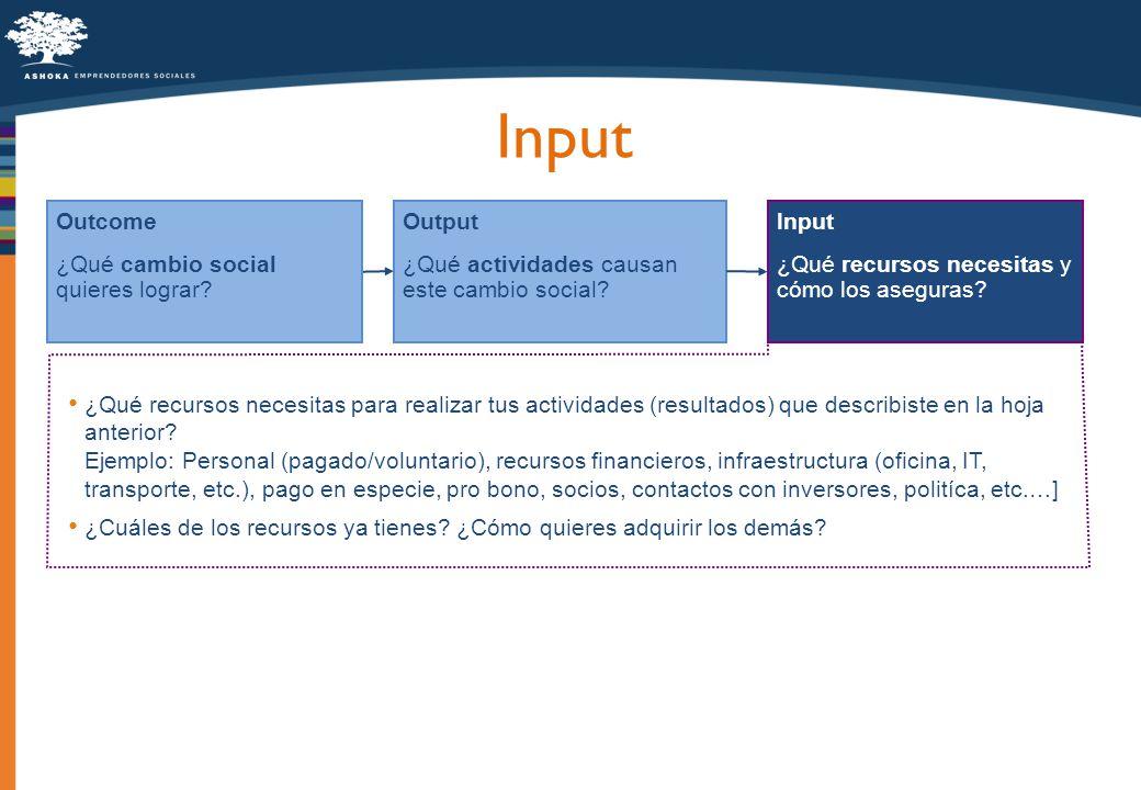 Input Output ¿Qué actividades causan este cambio social? Outcome ¿Qué cambio social quieres lograr? Input ¿Qué recursos necesitas y cómo los aseguras?