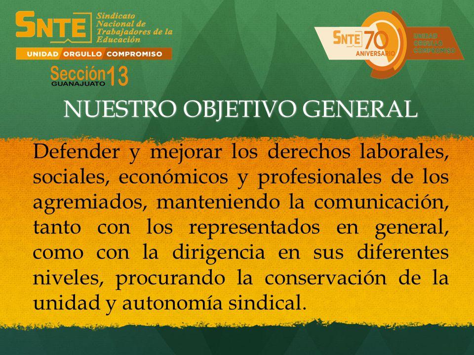 Defender y mejorar los derechos laborales, sociales, económicos y profesionales de los agremiados, manteniendo la comunicación, tanto con los represen
