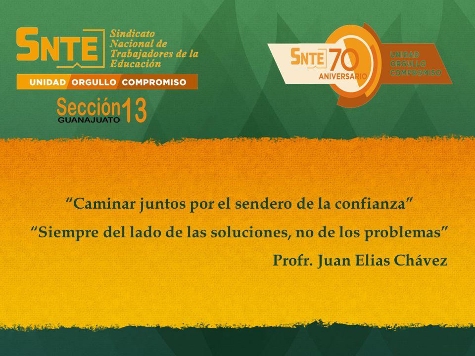 Caminar juntos por el sendero de la confianza Siempre del lado de las soluciones, no de los problemas Profr. Juan Elias Chávez