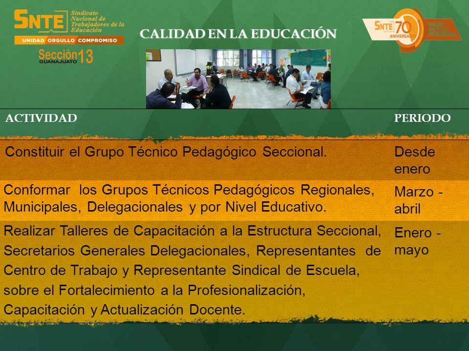 CALIDAD EN LA EDUCACIÓN ACTIVIDADPERIODO Constituir el Grupo Técnico Pedagógico Seccional.Desde enero Conformar los Grupos Técnicos Pedagógicos Region