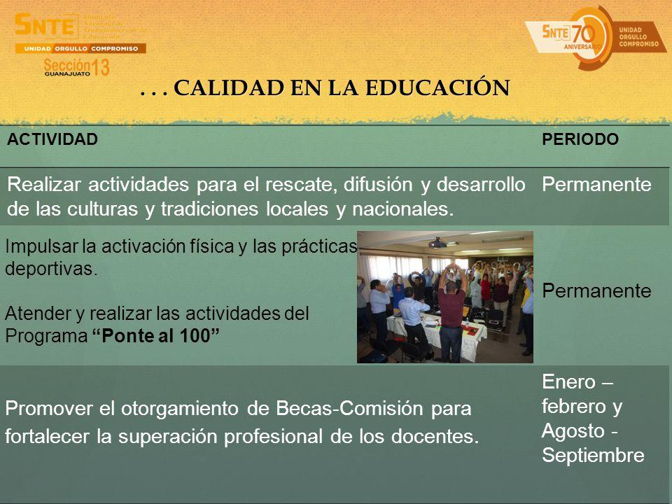 ... CALIDAD EN LA EDUCACIÓN ACTIVIDADPERIODO Realizar actividades para el rescate, difusión y desarrollo de las culturas y tradiciones locales y nacio