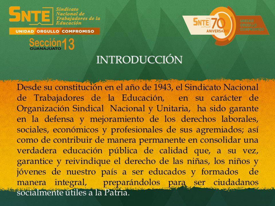 Desde su constitución en el año de 1943, el Sindicato Nacional de Trabajadores de la Educación, en su carácter de Organización Sindical Nacional y Uni
