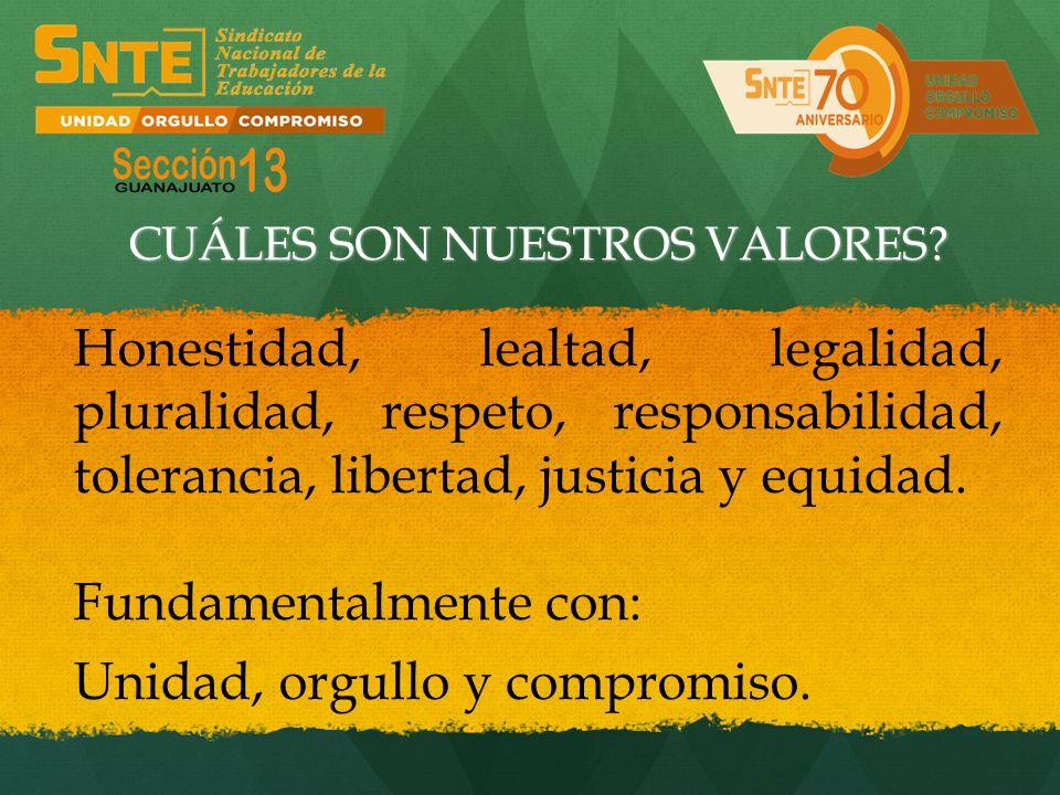 Honestidad, lealtad, legalidad, pluralidad, respeto, responsabilidad, tolerancia, libertad, justicia y equidad. Fundamentalmente con: Unidad, orgullo