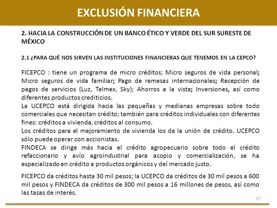 17 EXCLUSIÓN FINANCIERA 2. HACIA LA CONSTRUCCIÓN DE UN BANCO ÉTICO Y VERDE DEL SUR SURESTE DE MÉXICO 2.1 ¿PARA QUÉ NOS SIRVEN LAS INSTITUCIONES FINANC