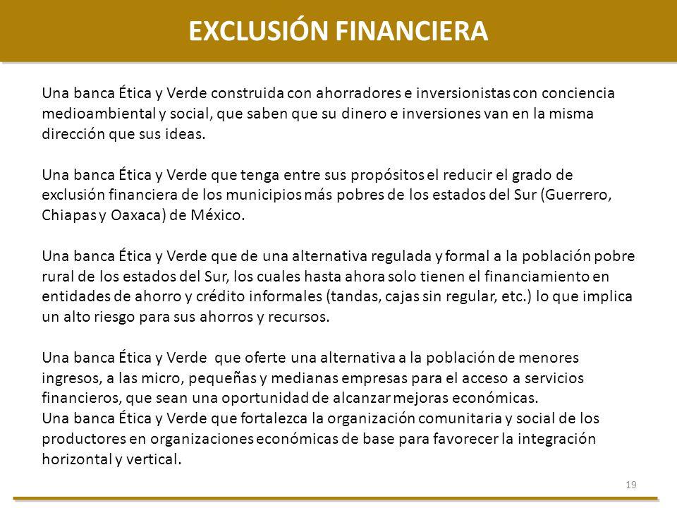 19 EXCLUSIÓN FINANCIERA Una banca Ética y Verde construida con ahorradores e inversionistas con conciencia medioambiental y social, que saben que su d