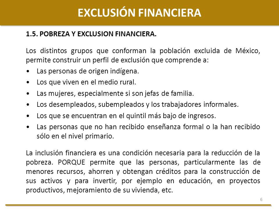 6 EXCLUSIÓN FINANCIERA 1.5. POBREZA Y EXCLUSION FINANCIERA. Los distintos grupos que conforman la población excluida de México, permite construir un p