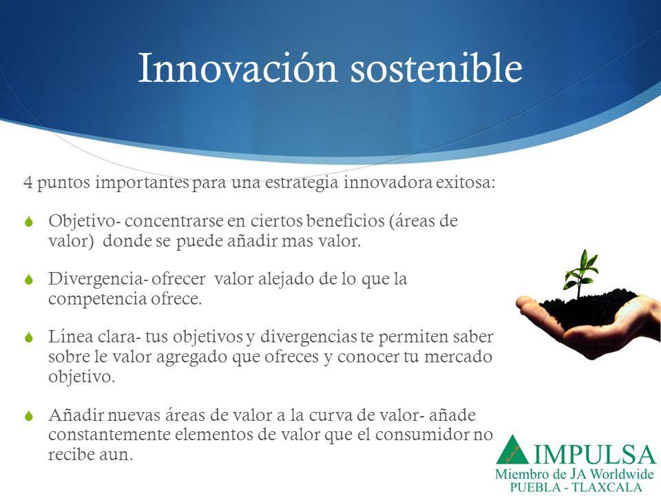 Innovación sostenible 4 puntos importantes para una estrategia innovadora exitosa: Objetivo- concentrarse en ciertos beneficios (áreas de valor) donde