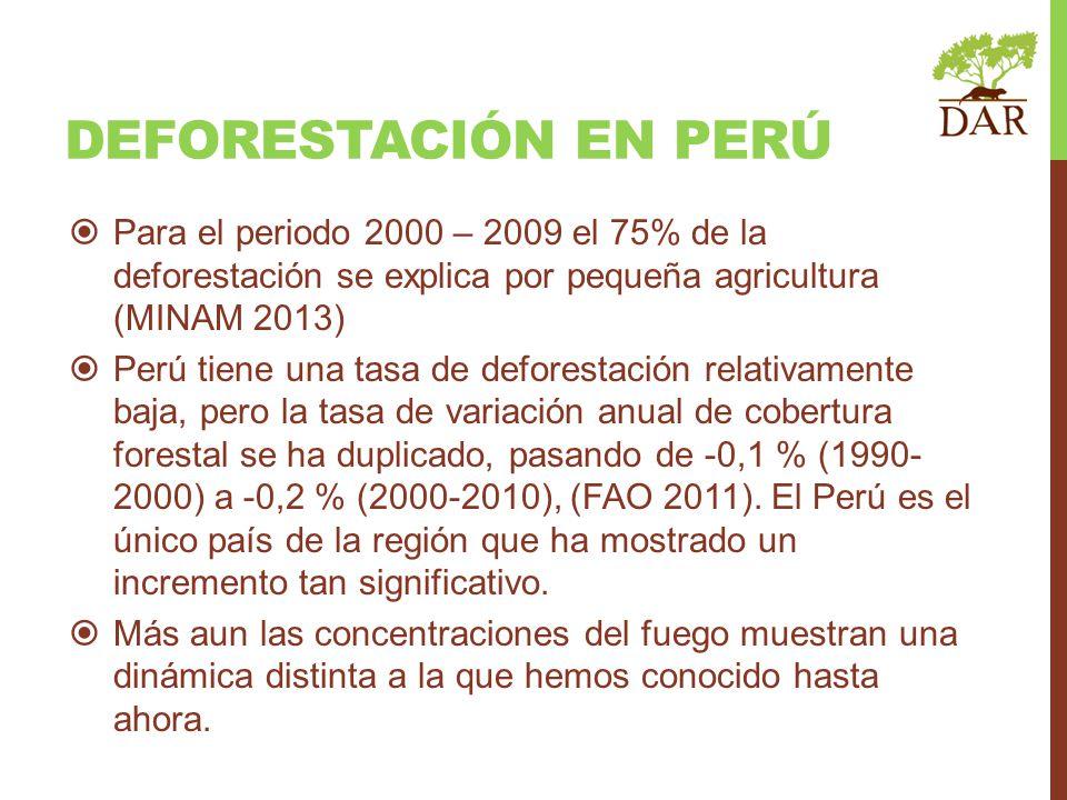 DEFORESTACIÓN EN PERÚ Para el periodo 2000 – 2009 el 75% de la deforestación se explica por pequeña agricultura (MINAM 2013) Perú tiene una tasa de de