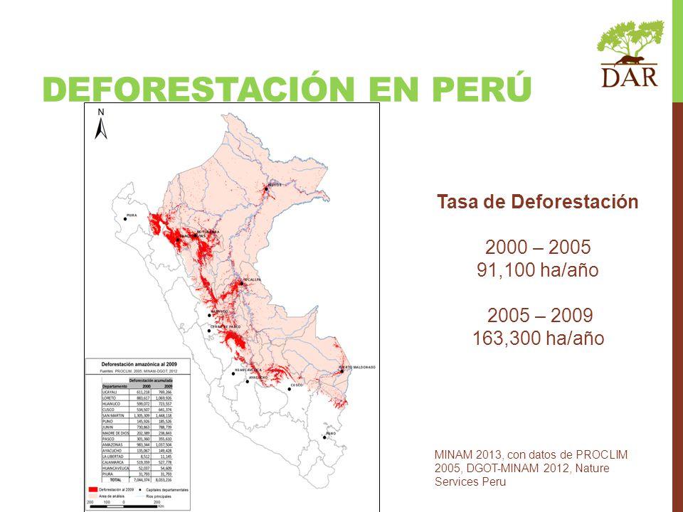 DEFORESTACIÓN EN PERÚ MINAM 2013, con datos de PROCLIM 2005, DGOT-MINAM 2012, Nature Services Peru Tasa de Deforestación 2000 – 2005 91,100 ha/año 200