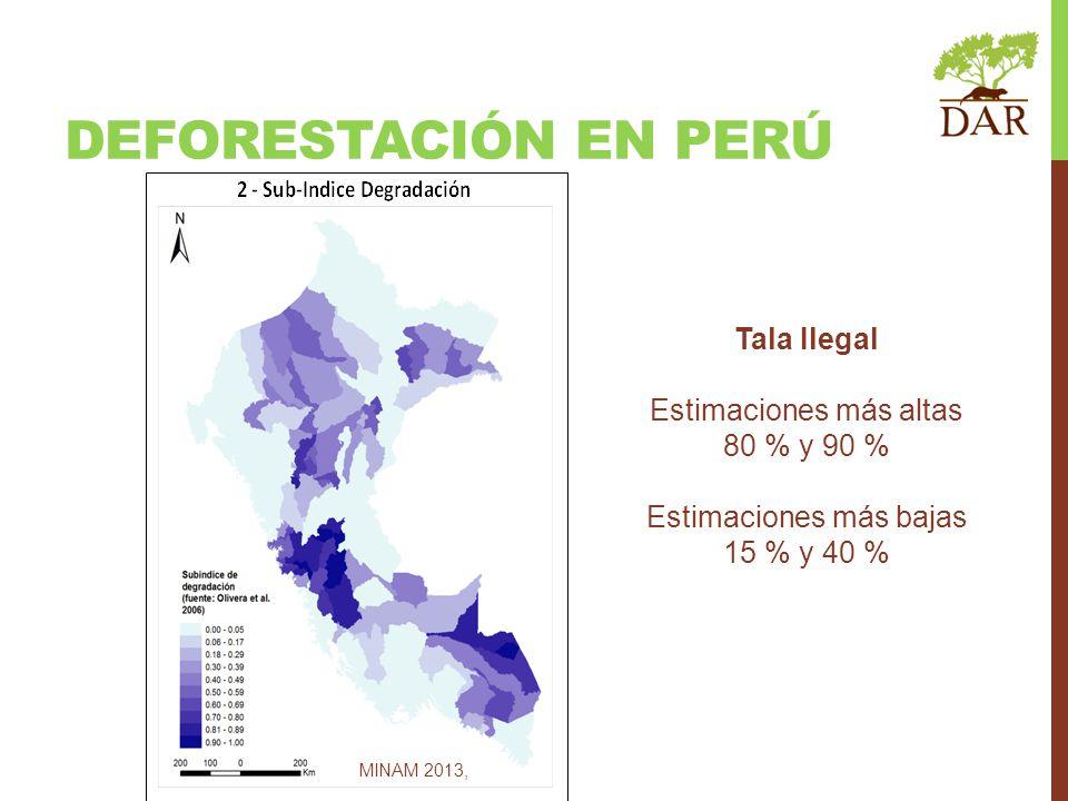 DEFORESTACIÓN EN PERÚ MINAM 2013, Tala Ilegal Estimaciones más altas 80 % y 90 % Estimaciones más bajas 15 % y 40 %