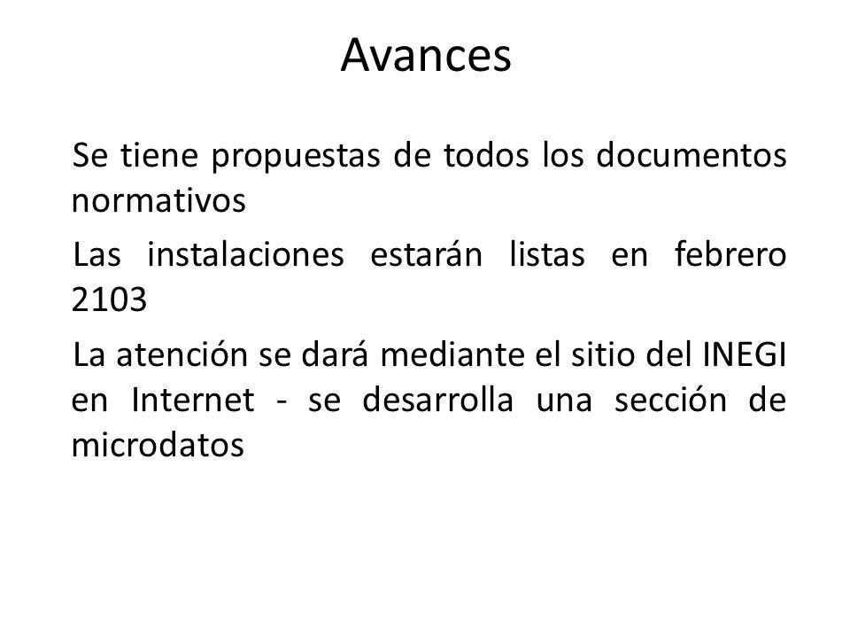 Se tiene propuestas de todos los documentos normativos Las instalaciones estarán listas en febrero 2103 La atención se dará mediante el sitio del INEGI en Internet - se desarrolla una sección de microdatos Avances