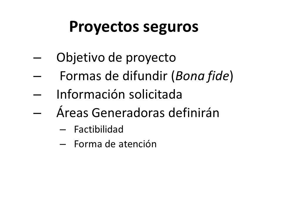 Proyectos seguros – Objetivo de proyecto – Formas de difundir (Bona fide) – Información solicitada – Áreas Generadoras definirán – Factibilidad – Forma de atención