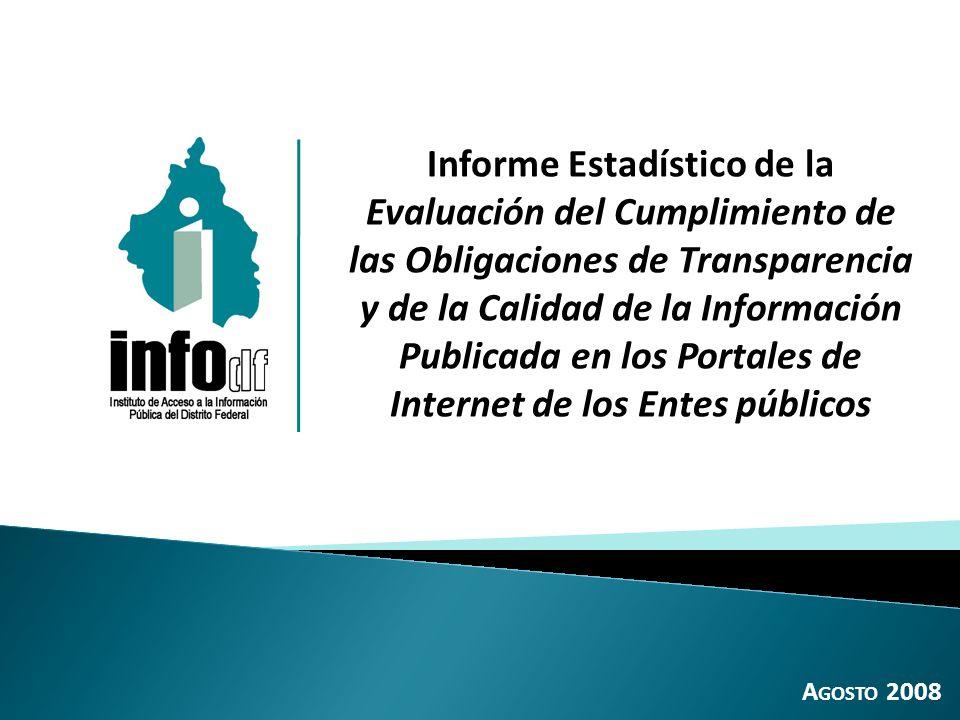 O B J E T I V O Dar a conocer los principales resultados de la evaluación de las obligaciones de transparencia en los portales de Internet de los Entes públicos (Artículos 12 y 13 de la anterior LTAIPDF), realizada entre los meses de abril y mayo de 2008.