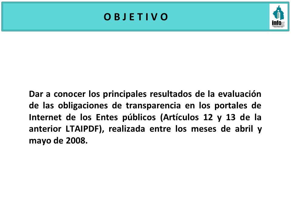 O B J E T I V O Dar a conocer los principales resultados de la evaluación de las obligaciones de transparencia en los portales de Internet de los Ente