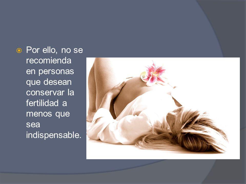 Por ello, no se recomienda en personas que desean conservar la fertilidad a menos que sea indispensable.