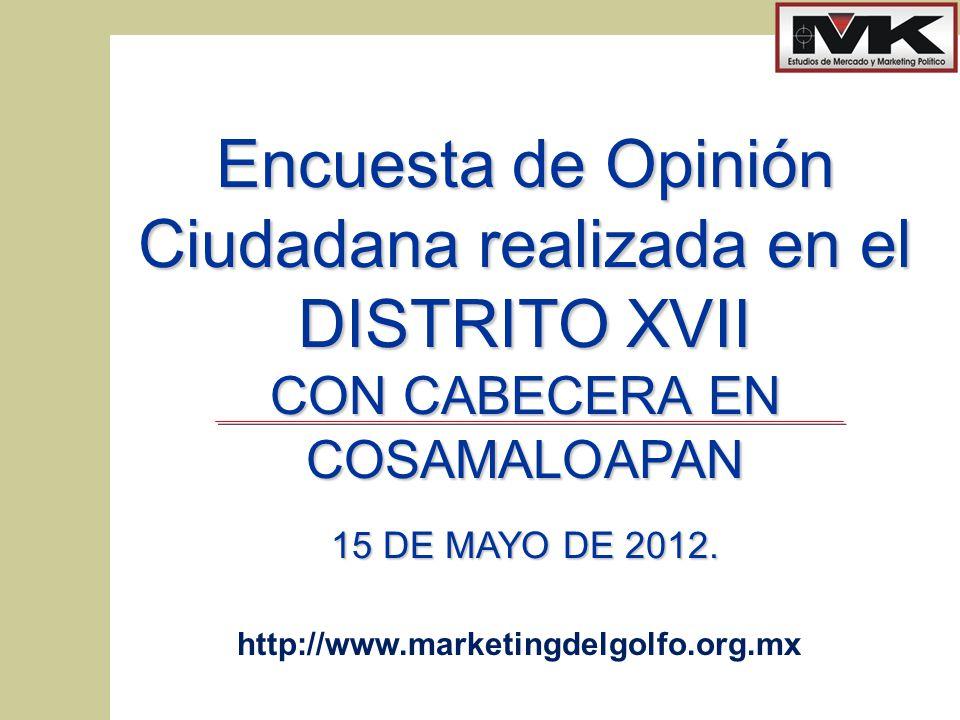 www.marketingdelgolfo.org.mx 1 Encuesta de Opinión Ciudadana realizada en el DISTRITO XVII CON CABECERA EN COSAMALOAPAN 15 DE MAYO DE 2012.