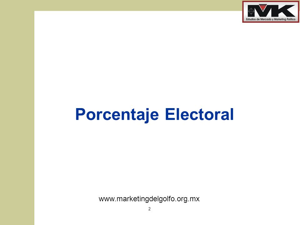 www.marketingdelgolfo.org.mx 2 Porcentaje Electoral