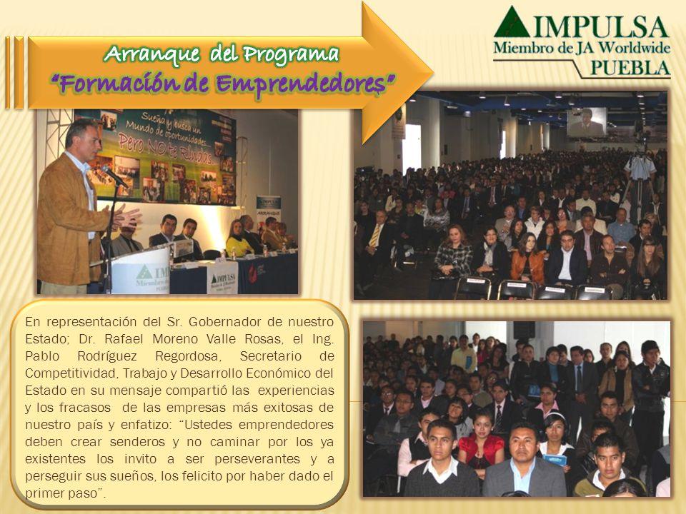 En representación del Sr. Gobernador de nuestro Estado; Dr. Rafael Moreno Valle Rosas, el Ing. Pablo Rodríguez Regordosa, Secretario de Competitividad