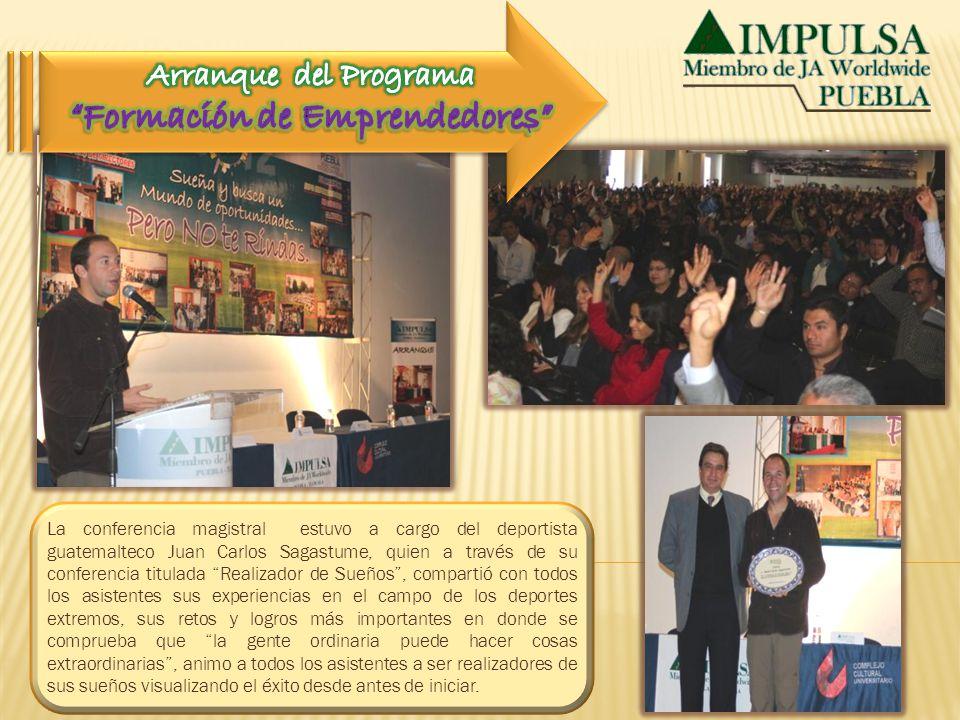 La conferencia magistral estuvo a cargo del deportista guatemalteco Juan Carlos Sagastume, quien a través de su conferencia titulada Realizador de Sue