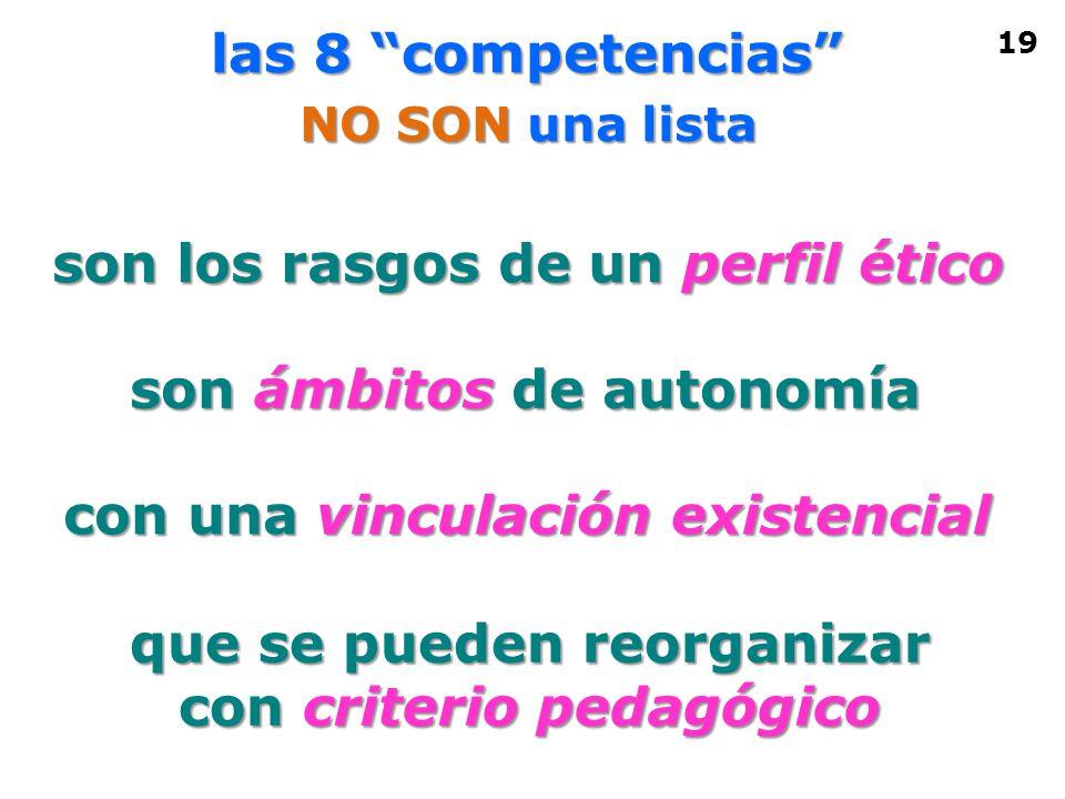 las 8 competencias NO SON una lista son ámbitos de autonomía con una vinculación existencial que se pueden reorganizar con criterio pedagógico son los