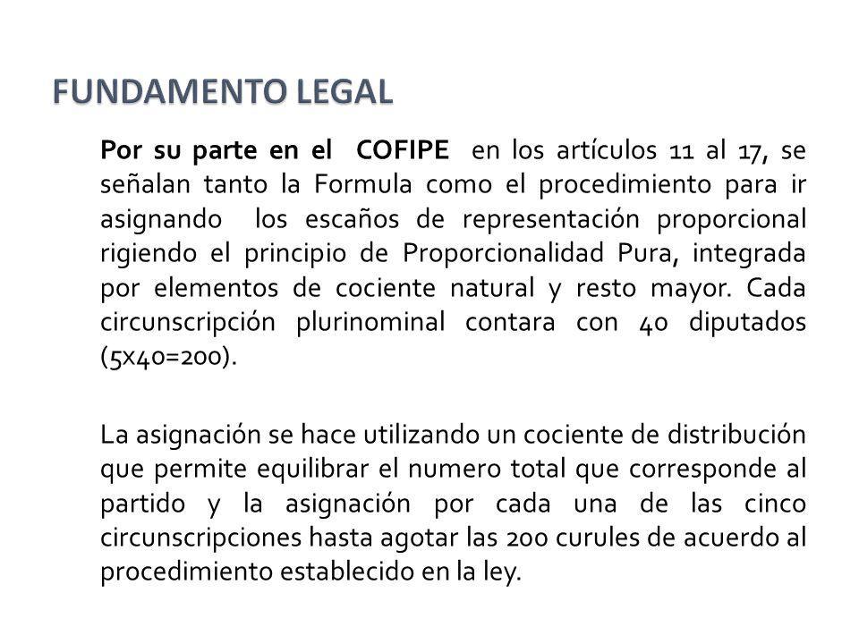 Por su parte en el COFIPE en los artículos 11 al 17, se señalan tanto la Formula como el procedimiento para ir asignando los escaños de representación