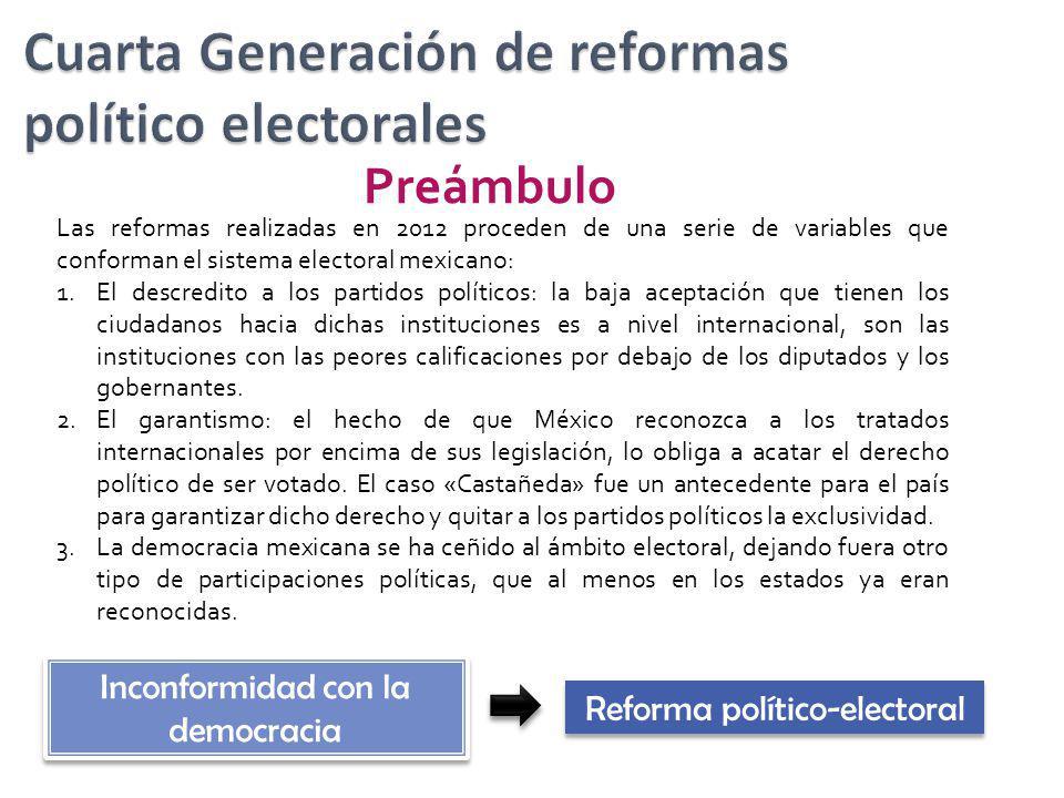 Preámbulo Las reformas realizadas en 2012 proceden de una serie de variables que conforman el sistema electoral mexicano: 1.El descredito a los partid