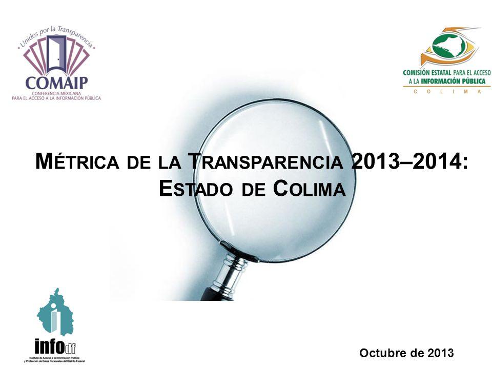 M ÉTRICA DE LA T RANSPARENCIA 2013–2014: E STADO DE C OLIMA Octubre de 2013 1