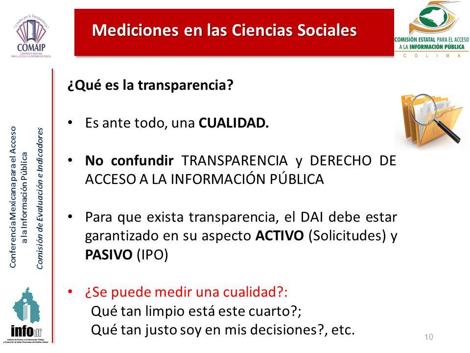 Conferencia Mexicana para el Acceso a la Información Pública Comisión de Evaluación e Indicadores Mediciones en las Ciencias Sociales 10 ¿Qué es la transparencia.