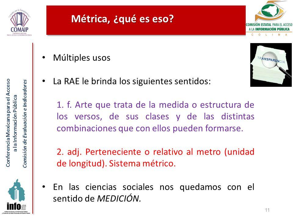 Conferencia Mexicana para el Acceso a la Información Pública Comisión de Evaluación e Indicadores Métrica, ¿qué es eso? 11 Múltiples usos La RAE le br