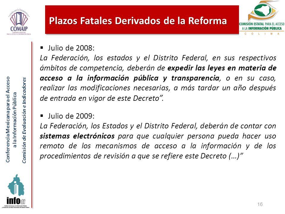 Conferencia Mexicana para el Acceso a la Información Pública Comisión de Evaluación e Indicadores Julio de 2008: La Federación, los estados y el Distr