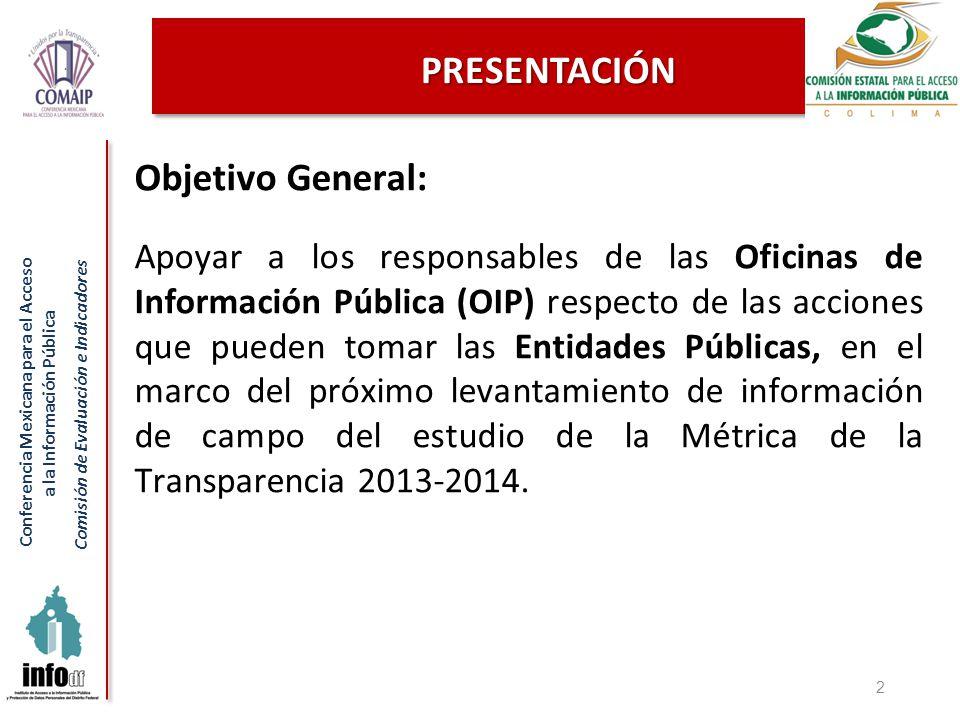 Conferencia Mexicana para el Acceso a la Información Pública Comisión de Evaluación e Indicadores PRESENTACIÓN Objetivo General: Apoyar a los responsables de las Oficinas de Información Pública (OIP) respecto de las acciones que pueden tomar las Entidades Públicas, en el marco del próximo levantamiento de información de campo del estudio de la Métrica de la Transparencia 2013-2014.