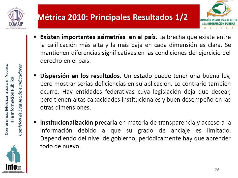 Conferencia Mexicana para el Acceso a la Información Pública Comisión de Evaluación e Indicadores Métrica 2010: Principales Resultados 1/2 Existen importantes asimetrías en el país.