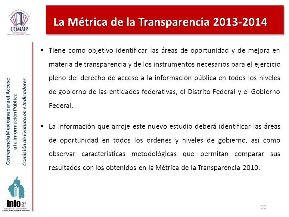 Conferencia Mexicana para el Acceso a la Información Pública Comisión de Evaluación e Indicadores La Métrica de la Transparencia 2013-2014 Tiene como