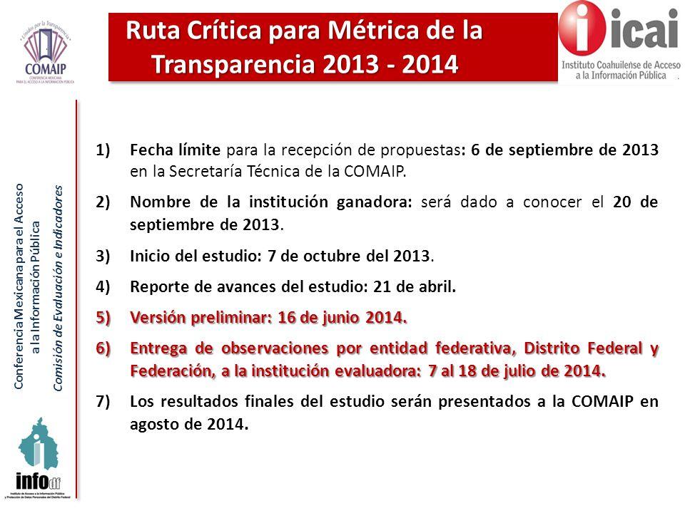 Conferencia Mexicana para el Acceso a la Información Pública Comisión de Evaluación e Indicadores 1)Fecha límite para la recepción de propuestas: 6 de septiembre de 2013 en la Secretaría Técnica de la COMAIP.