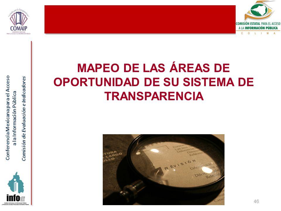 Conferencia Mexicana para el Acceso a la Información Pública Comisión de Evaluación e Indicadores MAPEO DE LAS ÁREAS DE OPORTUNIDAD DE SU SISTEMA DE TRANSPARENCIA 46