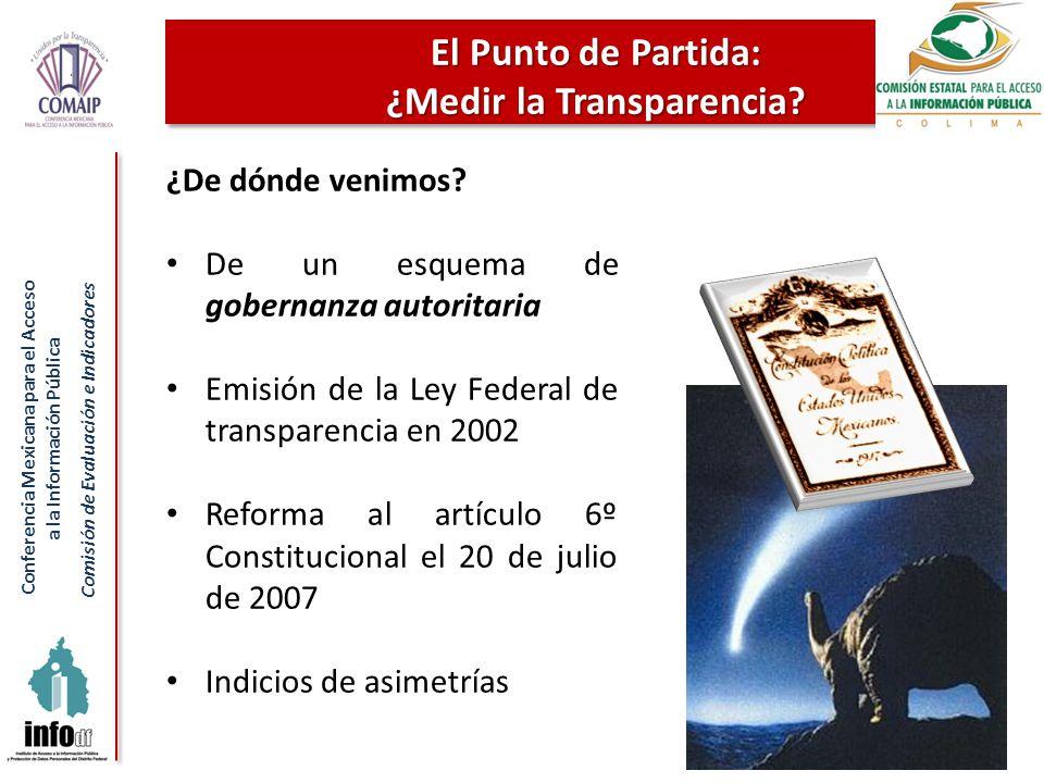 Conferencia Mexicana para el Acceso a la Información Pública Comisión de Evaluación e Indicadores El Punto de Partida: ¿Medir la Transparencia? 6 ¿De