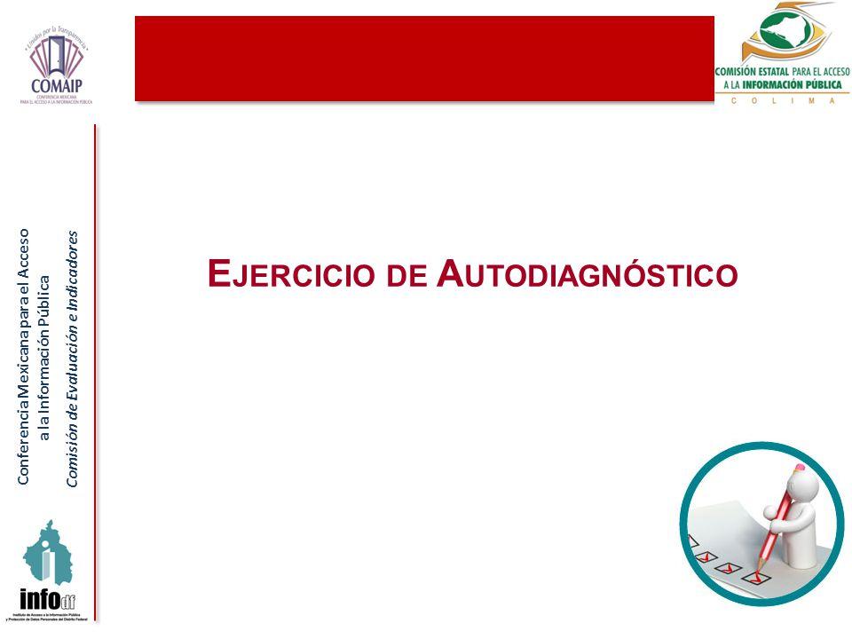 Conferencia Mexicana para el Acceso a la Información Pública Comisión de Evaluación e Indicadores 75 E JERCICIO DE A UTODIAGNÓSTICO
