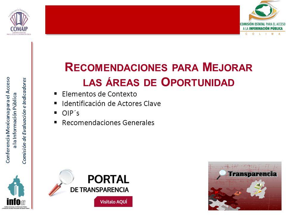 Conferencia Mexicana para el Acceso a la Información Pública Comisión de Evaluación e Indicadores R ECOMENDACIONES PARA M EJORAR LAS ÁREAS DE O PORTUN