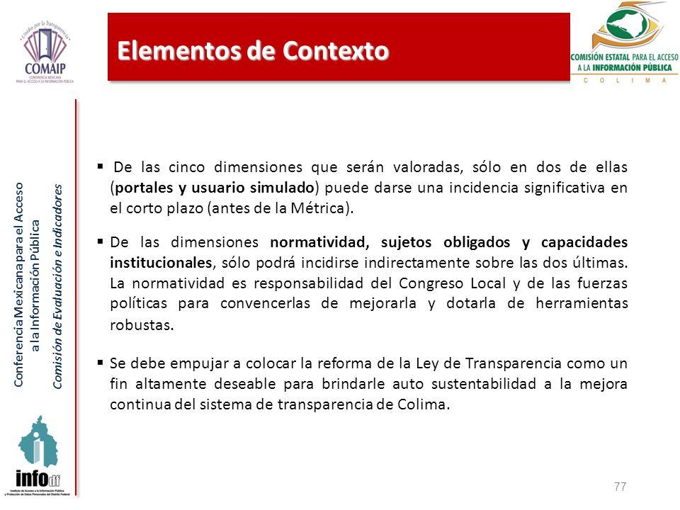 Conferencia Mexicana para el Acceso a la Información Pública Comisión de Evaluación e Indicadores Elementos de Contexto 77 De las cinco dimensiones que serán valoradas, sólo en dos de ellas (portales y usuario simulado) puede darse una incidencia significativa en el corto plazo (antes de la Métrica).