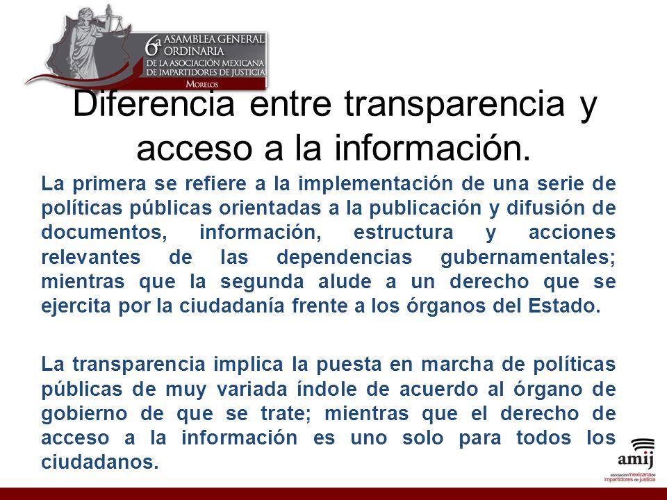 Diferencia entre transparencia y acceso a la información.