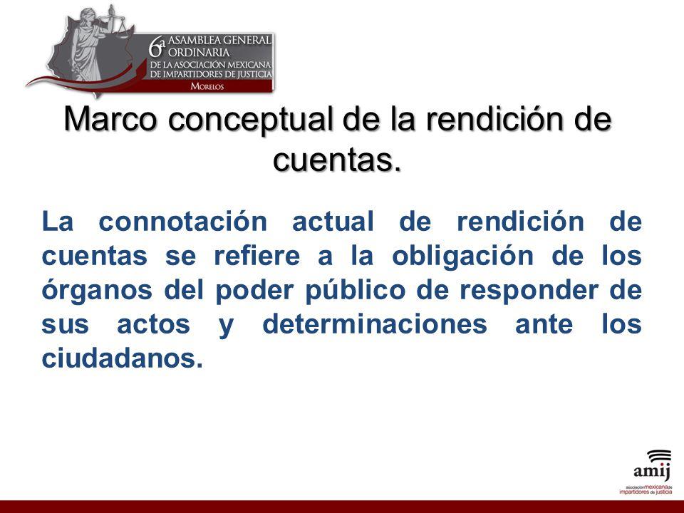 La connotación actual de rendición de cuentas se refiere a la obligación de los órganos del poder público de responder de sus actos y determinaciones ante los ciudadanos.